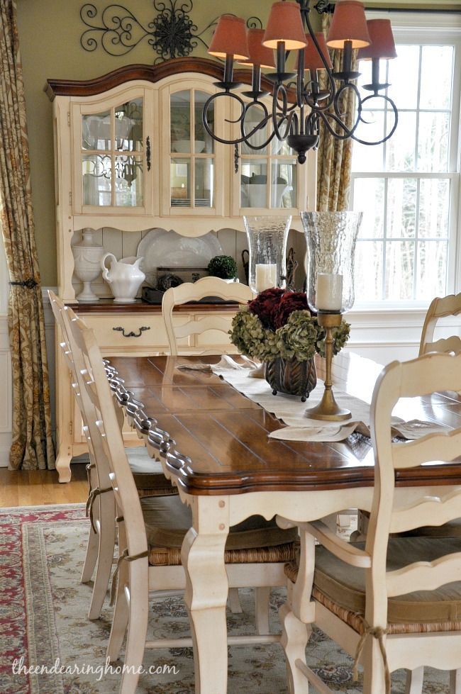 Dark Tabletop With Cream Base And Cream Chairs With Fabric Seat French Country Dining Room Decor French Country Dining Room Dining Room Updates