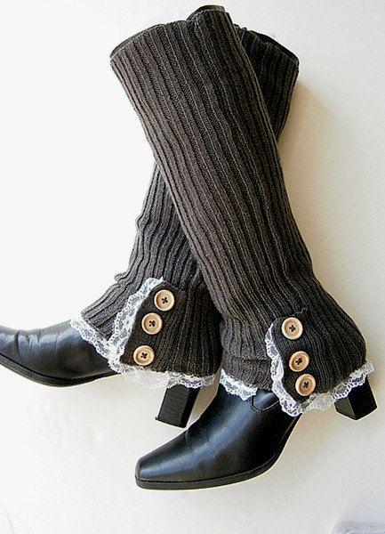 Knit Leg Warmers Womens Boot Cuffs Long Socks  Buttons Lace-Dark grey. $21.50, via Etsy.