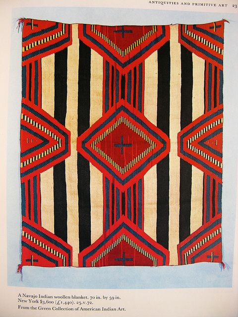 """navajo indian wool blanket 70""""x59"""", $3600 From Sotheby's Art at Auction, 1973 warymeyers blog, via Flickr"""