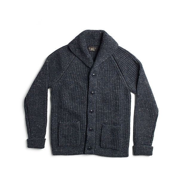 Ralph Lauren Rrl Cotton-Blend Shawl Cardigan ($595) ❤ liked on Polyvore featuring men's fashion, men's clothing, men's sweaters, vintage mens sweaters, mens shawl collar cardigan sweater, mens shawl collar sweater, mens short sleeve sweater and ralph lauren mens sweaters