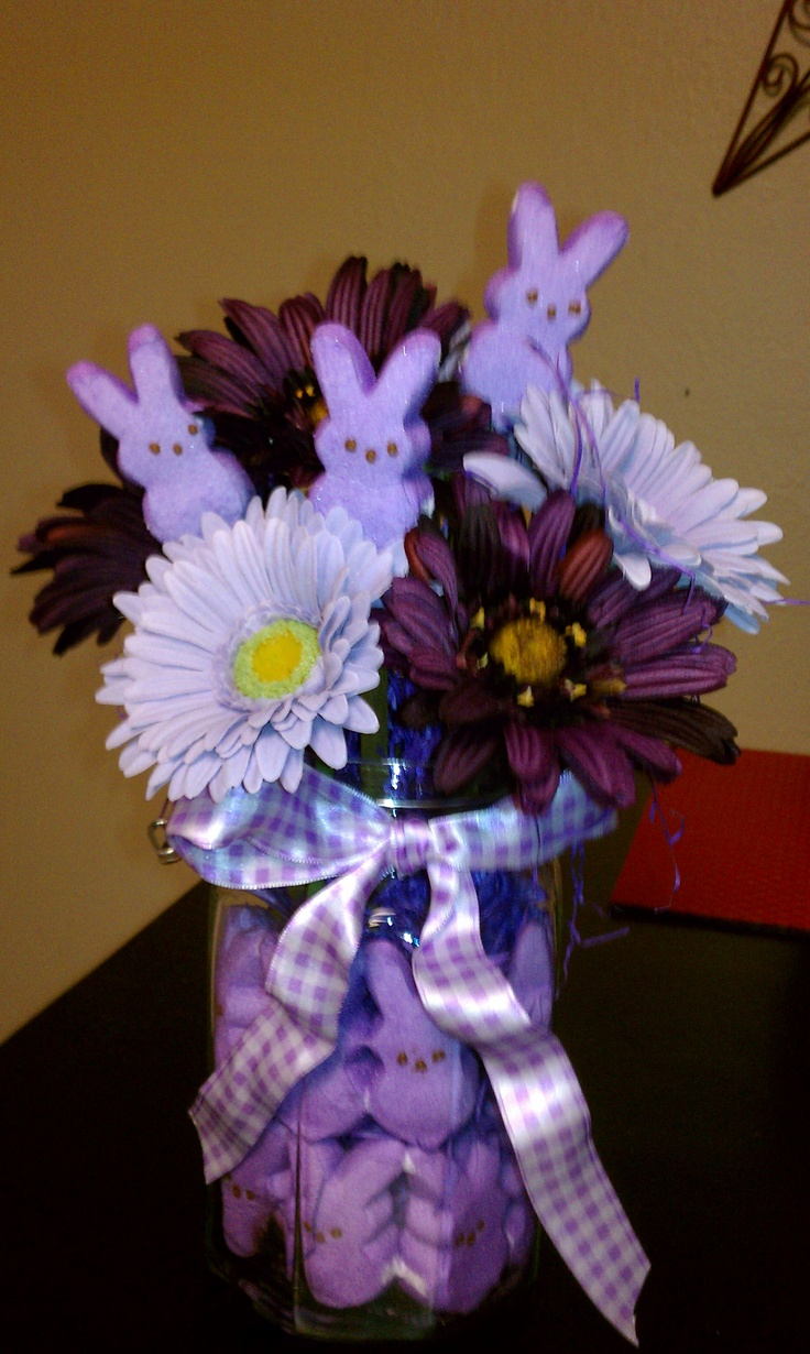 I saw this in pink on Pinterest and recreated it using my favorite colors.: Centerpieces Ideas, Centerpiece Ideas, Easter Centerpieces, Bunnies Flowers, Color, Cute Ideas, Bouquets Ideas, Easter Ideas, Bunnies Centerpieces