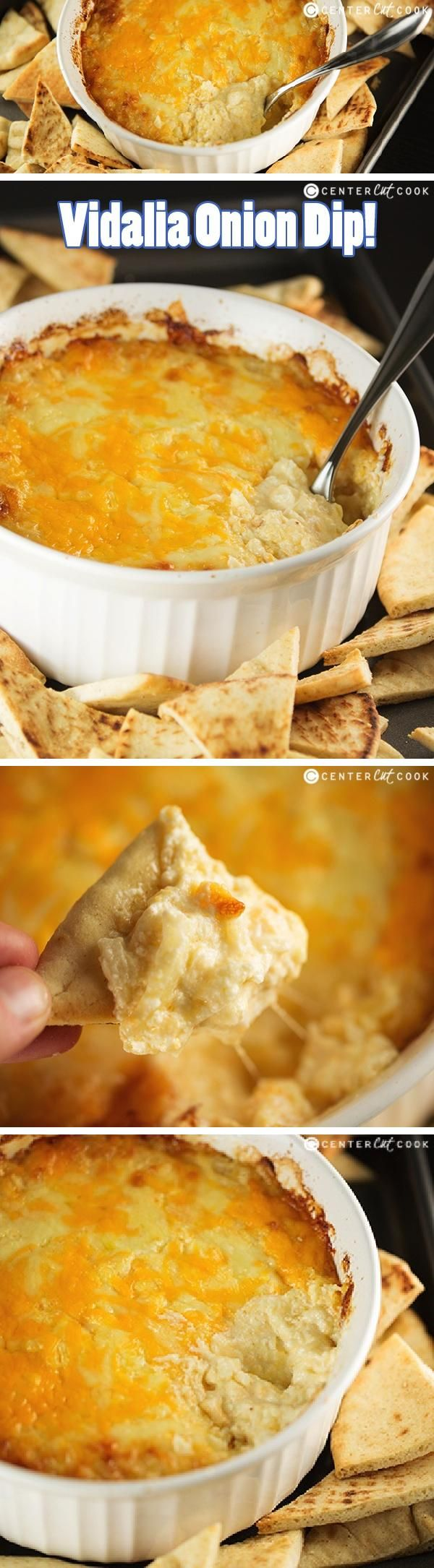 VIDALIA ONION DIP Recipe made from scratch with cream cheese, swiss cheese, cheddar cheese, and finely chopped vidalia onions baked until golden brown and bubbly! This is a super easy recipe and the result is a creamy delicious dip everyone will love.