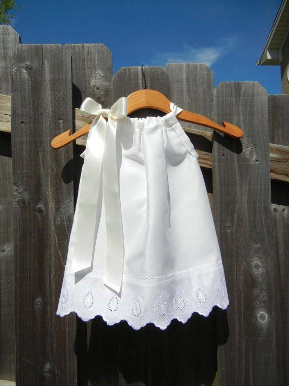 White Pillowcase Dress with Scallop Lace  sizes by theuptownbaby, $29.00