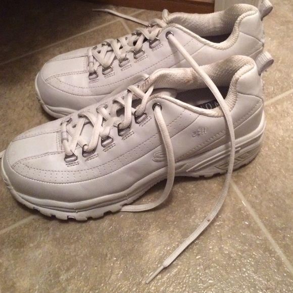 Skechers steel toe shoes Skechers steel toe tennis shoes. Used but still in good shape. A lot of tread left. A little dingy around the heel Skechers Shoes Sneakers