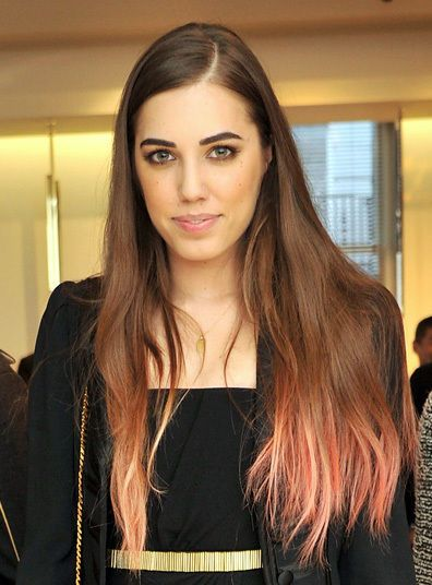 Natural Brunette Brown Hair with Pale Light Pink Pastel Ombre Tips