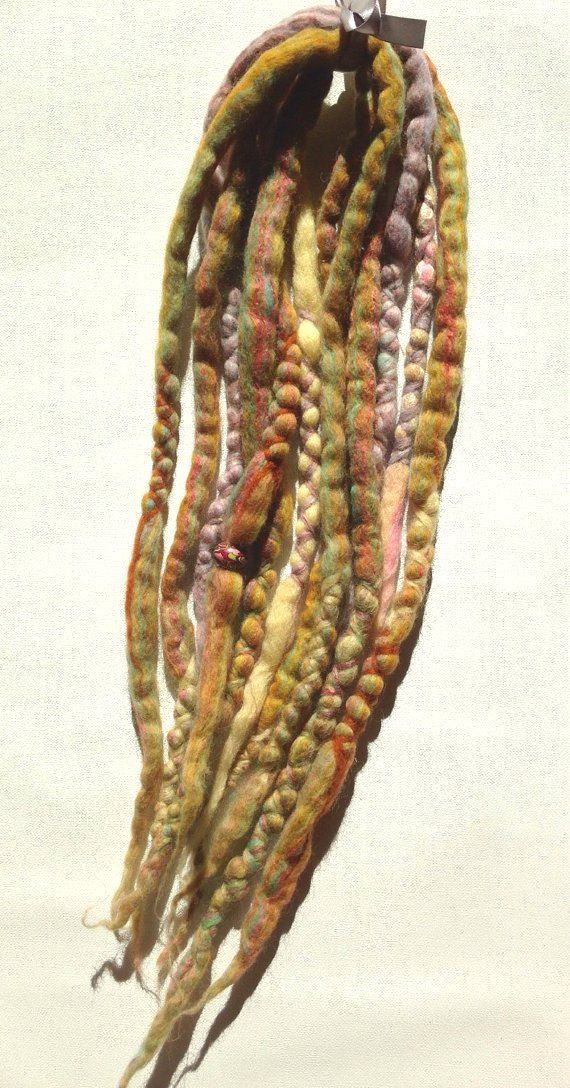 wool dreads set - LITONYA - 12 tips DE multicolored yellow orange lavendar pink accent dreads boho