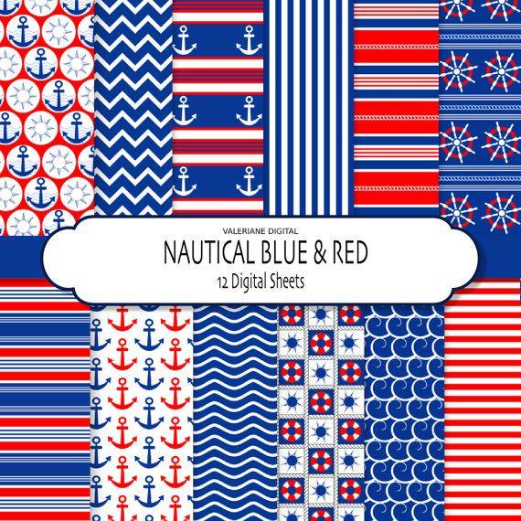 Nautische digitalem Papier Pack in Navy-blau und rot, 12 Scrapbook-Papiere mit Anker, Wellen und andere nautische Muster  SOFORT-DOWNLOAD: