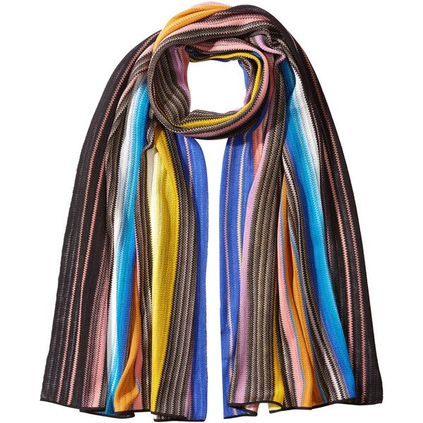 Missoni Striped Knit Scarf ($270) ❤ liked on Polyvore featuring accessories, scarves, multicolor, missoni scarves, missoni shawl, striped scarves, multi colored scarves and colorful scarves