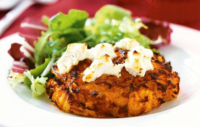 Ocado: Recipes: Sweet Potato Rosti with Goat's Cheese: Yummy Chee, Potatoes Rosti, Goats Chee Recipes, Maine Meals, Tangi Goats, Garlicky Sweet Potatoes, Goats Cheese, Goat Cheese, Sweet Potatoes Cakes