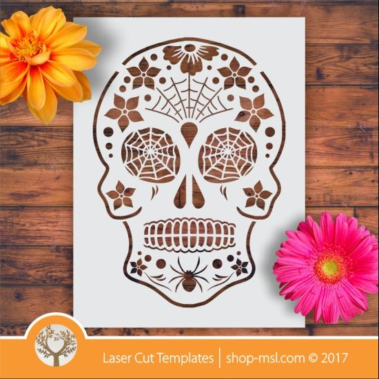 Product Sugar skull laser stencil cut template. shop online for vector patterns, free designs every day. Sugar Skull Stencil 08 @ shop-msl.com