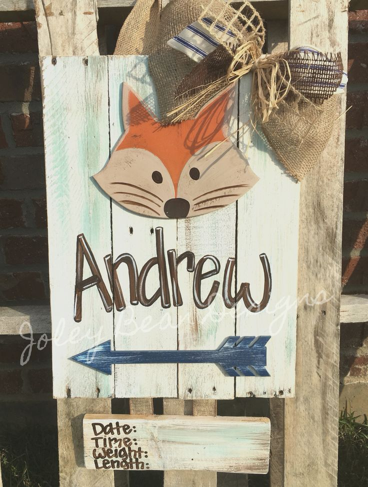 Baby boy hospital door hanger, fox, arrows, Joley Bean Designs