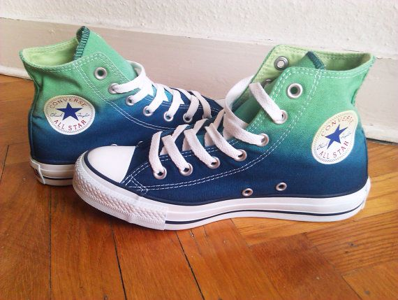 Emerald green navy blue ombre Converse need these, Fantastic