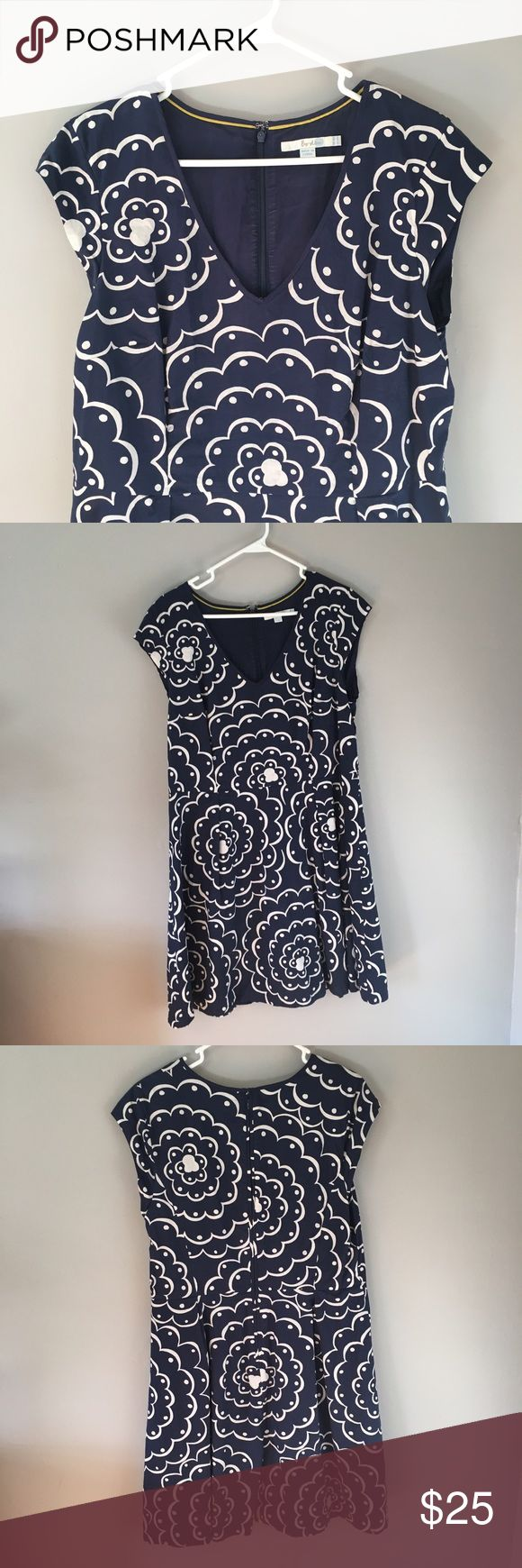 Boden navy blue cotton dress Lovely navy cotton dress from Boden, cap sleeves, size US 14 Boden Dresses