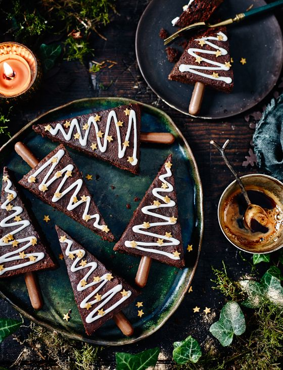 Spiced Christmas tree brownies - Get your brownies ready for the party season – infuse the chocolatey mixture with warm, seasonal spices and a splash of port.