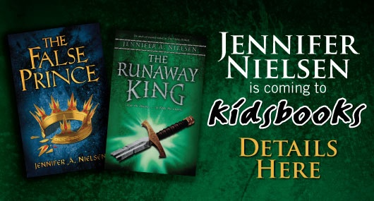 Jennifer Nielsen, author of The False Prince and its sequel The Runaway King is coming to Kidsbooks.