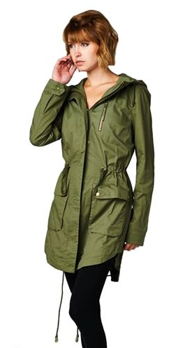 Amelia Jacket $99.95 CAD ESTIMATED SHIP DATE: This item is NOT in stock. Estimated ship date is Monday, October 13, 2014. Lightweight jacket Drawstrings Big cargo pockets Drawstring at waist Full hood Longer length 100% Cotton