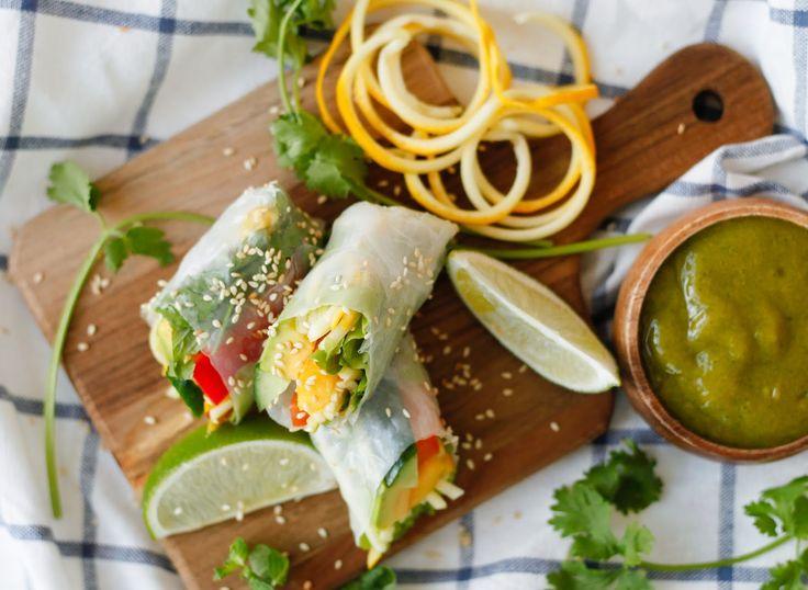 Summer Rice Paper Rolls with Mango Coriander Dip