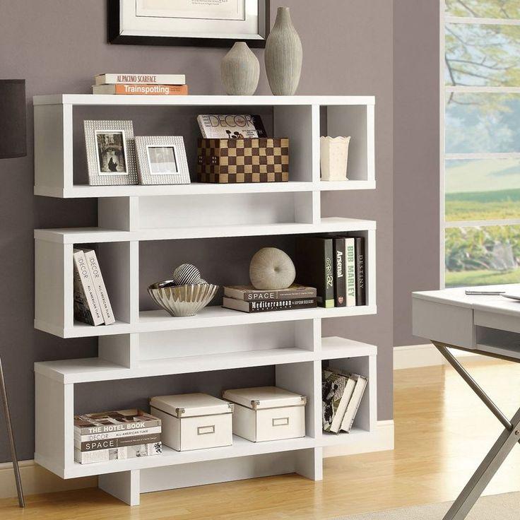 White Modern Bookcase Bookshelf for Living Room Office or Bedroom - Loluxe