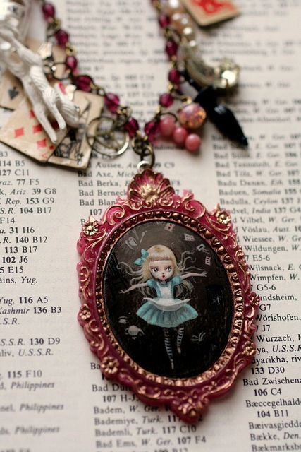 Alice Falling (Down the Rabbit Hole) - original cameo by Mab Graves #lewis #carroll #jewelry #wonderland #necklace