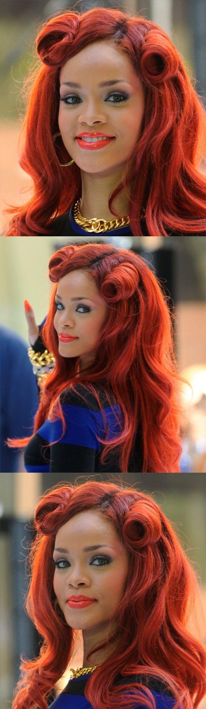 Curly Half Up Frisur für mittelhelles rot gefärbtes Haar