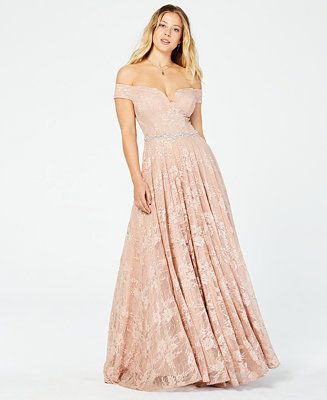 aa97fe2d70e7 Say Yes to the Prom Juniors' Off-The-Shoulder Sequined Lace Gown, Created  for Macy's - Dresses - Women - Macy's