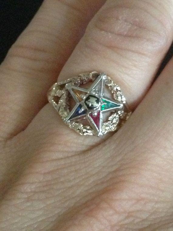 Women's Masonic Eastern Star Ring in Yellow by EstateJewelryMama