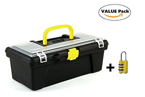 """OrgPro 12"""" Tool Box. Lockable, Portable Plastic Toolbox Multiple Compartments with Handle for Basic Hand Tools- Free combination lock included! #OrgPro #Tool #Box. #Lockable, #Portable #Plastic #Toolbox #Multiple #Compartments #with #Handle #Basic #Hand #Tools #Free #combination #lock #included!"""