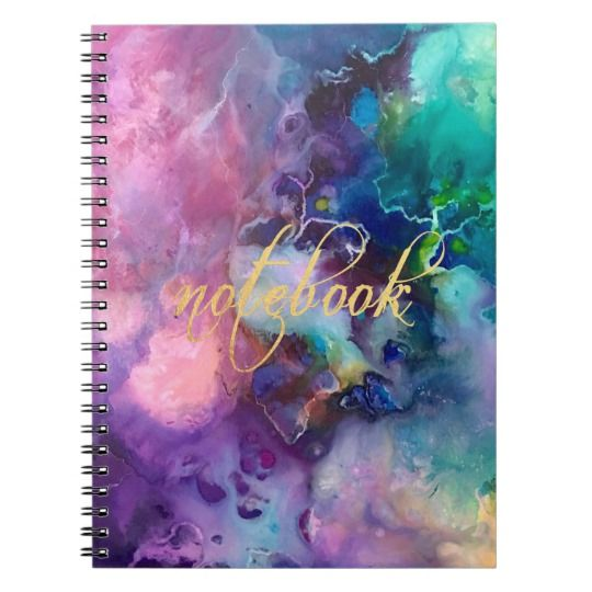 """Ink colorful purple gold texture pattern paint notebook on zazzle.com for ($13.30), Organize your day with a custom notebook! Made with your images and text on the front cover, this notebook is a great way to show off your personal style and keep track of all important notes and appointments all at once. Specifications - - Dimensions: 6.5"""" x 8.75"""" - Cover printed in vibrant, sharp color - 80 black & white lined pages - Lay flat spiral binding"""