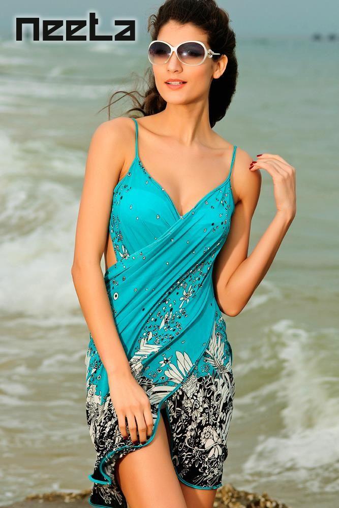NEETA Dámské zavinovací šaty, plážové šaty, letní šaty modré