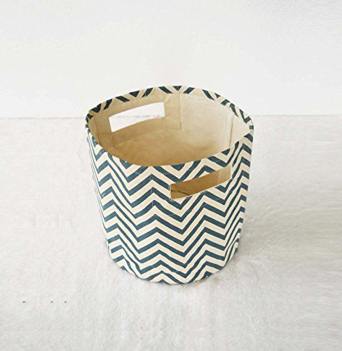 Vliving Blue Canvas Basket Chevron Print Storage Basket Fabric Bin 10x10 Fabric Storage Baskets Canvas Storage Fabric Bins