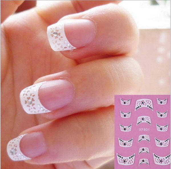 10 packs/lot Mode Franse Stijl 3D Design Tip Nail Art Nail Stickers Decals Manicure Nail Gereedschap Met Schoonheid Ornament XF801