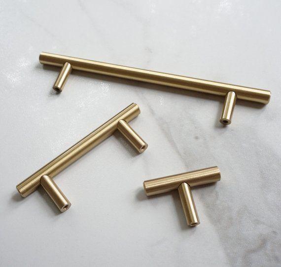 T Bar Solid Brass Cabinet Handles Brass Door Handles Drawer