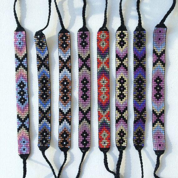 Seed Bead Friendship Bracelet Metallic Tribal by MichikoJewelry