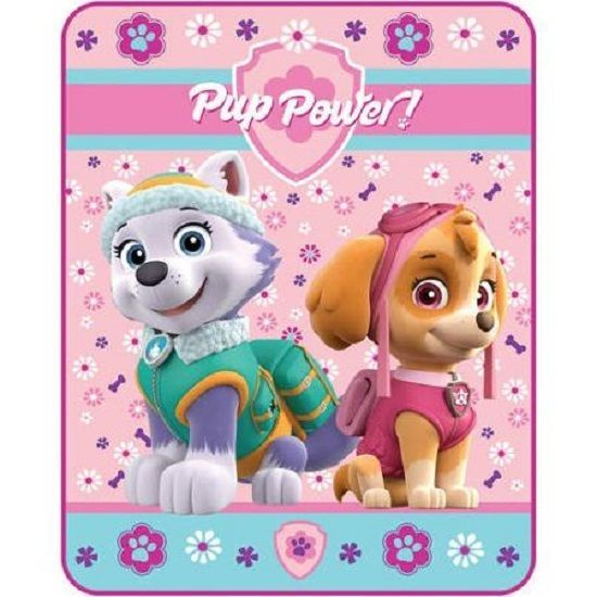 "Nickelodeon Paw Patrol Plush Blanket NEW ""40x50"" Girl ""Pup Power"" Skye & Everest #SpinMaster"