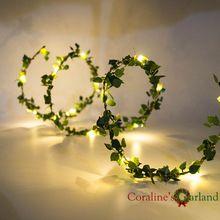 Handgemaakte 2 M 20 LEDs leaf garland batterij bedienen Koper LED fee lichtslingers voor rustieke bruiloft decoratie zomer party event(China (Mainland))