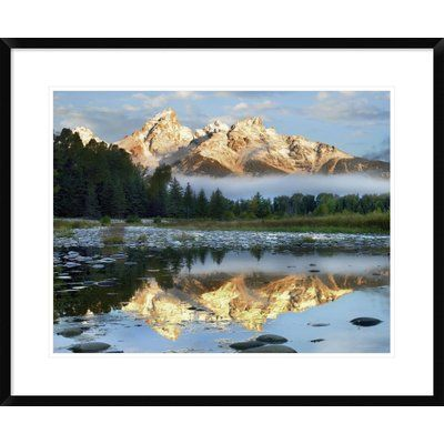 """Global Gallery Pond Reflecting Grand Tetons, Grand Teton National Park, Wyoming by Tim Fitzharris Framed Photographic Print Size: 24"""" H x 30"""" W x 1..."""