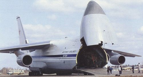 An-124 Ruslan (Condor) Large Cargo #Aircraft fuelage nose can be hinged upward to open cargo hatch.