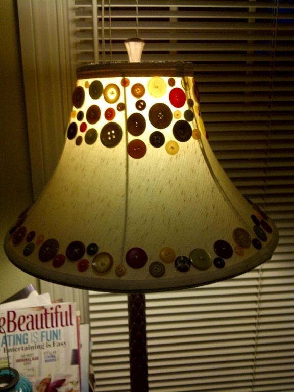 Buttons. Lamp shade.  Lots of sewing, and voila!Lampshade