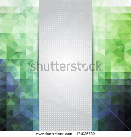Abstract green and blue card or invitation template with triangle pattern background and place for text in the center. by ilyianne, via Shut...