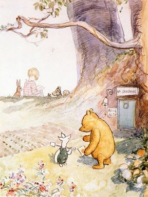 Winnie the Pooh talking to piglet with Christopher Robin and friends on the hill.