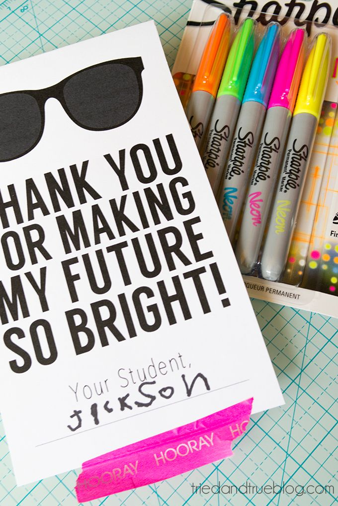 Quick! Need a back-to-school teacher's gift? Just pick up some neon markers and print off this free label!