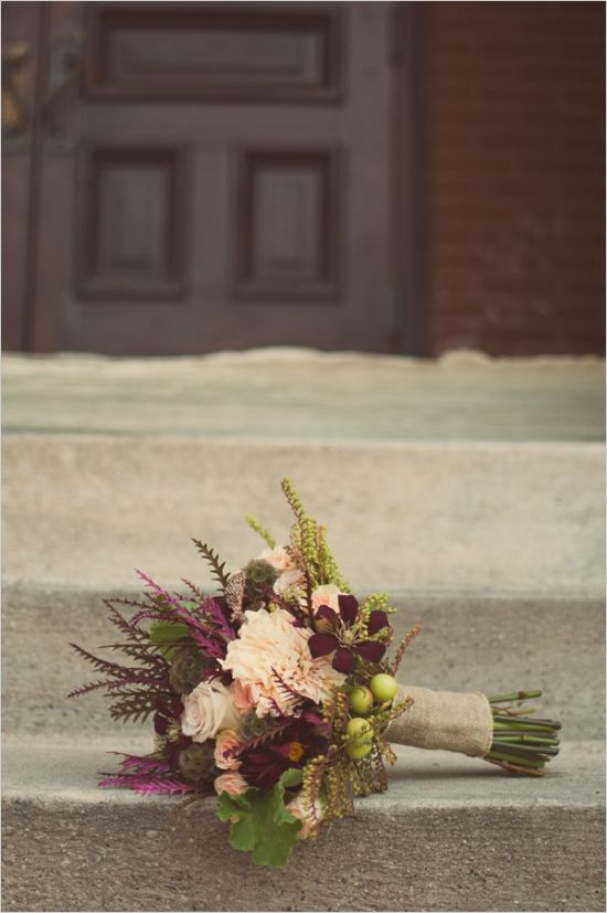 Fall wedding bouquet... pretty, I wpuld just substitute the pink floral for white. Love the shades of plum, purple, and greens.