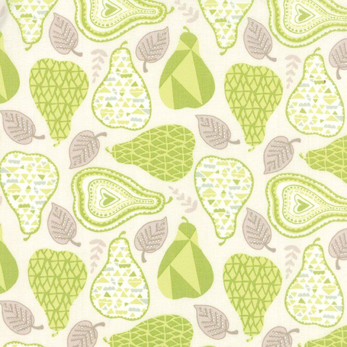 YELLOW /& GREEN PEARS ON WHITE COTTON FABRIC