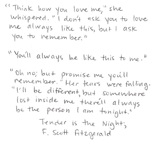 LOVE F Scott Fitzgerald- and isn't this how marriage/relationships are?  There is still a shadow of our former selves that we carry with us into the future.