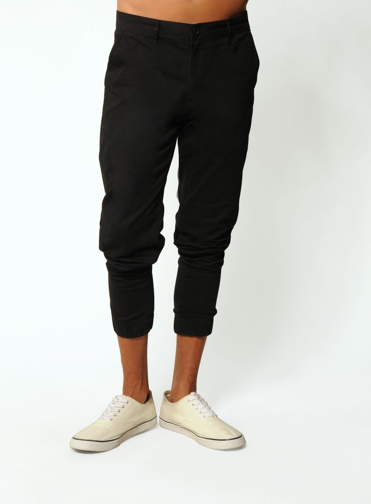 BLACK STRETCH TWILL JOGGERS