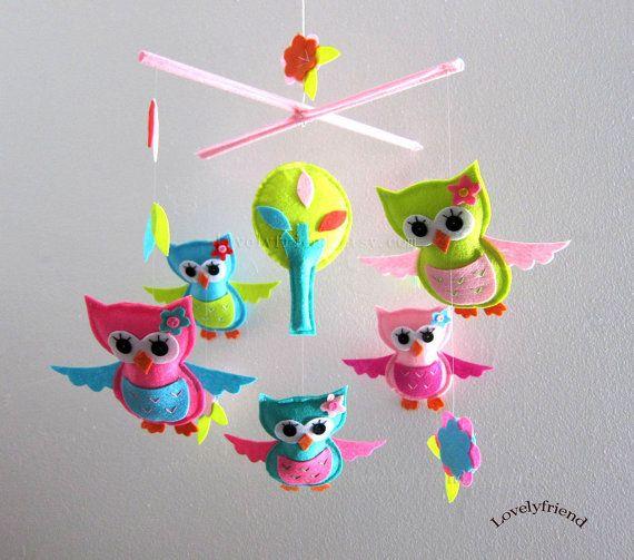 "Baby Mobile - ""Little Princess Owls"" Nursery Mobile - Felt Hanging Crib Mobile - Bright color Owls "" (Match your bedding)"