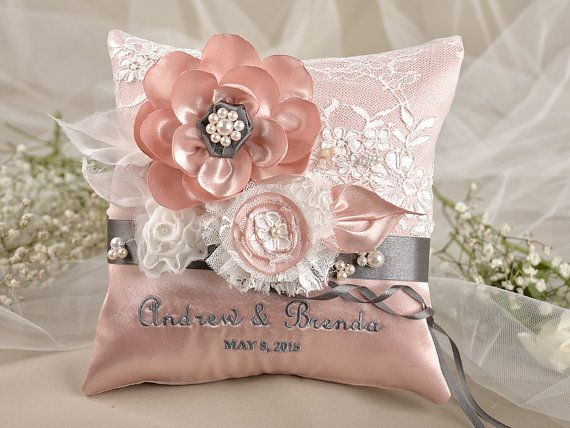 Peach Vintage Ring Pillow Wedding Pillow Ring Bearer Pillow Embroidery Names on Etsy & 15 best Wedding Ring Bearer Pillows ETSY images on Pinterest ... pillowsntoast.com