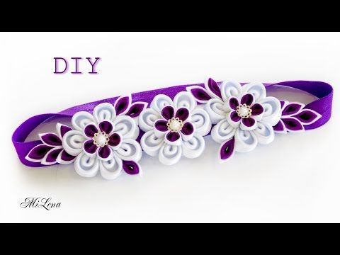Резинки канзаши, МК / DIY Scrunchy with Kanzashi flower / Black & White Ribbon Flowers - YouTube