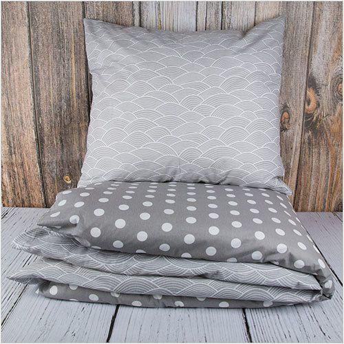 """Pościel z bawełny """"Grey Dots & Waves"""" 160x200cm + 2x70x80cm - Dom i styl życia"""
