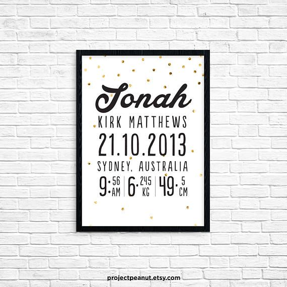 """Birth Announcement - Printable Wall Art - Nursery Wall Decor - Baby Nursery - Birth Stats - Newborn Announcement - Black and White  PLEASE NOTE:  + You are purchasing a digital file only.  + NO PRINTED MATERIALS ARE INCLUDED!  + There are NO REFUNDS as this is a digital product.  + A reminder that this is a DIGITAL PRODUCT.  WHAT DO YOU GET? 11x14 inch digital printable artwork  HOW TO ORDER  1. Purchase the digital file.  2. Leave in the """"message to seller"""":  -- name of baby  -- date of…"""